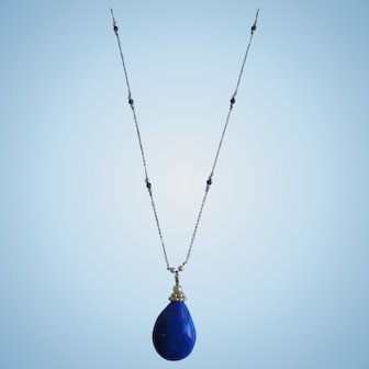 Vintage Art Deco Lapis And Seed Pearl Sterling Necklace With Pendant