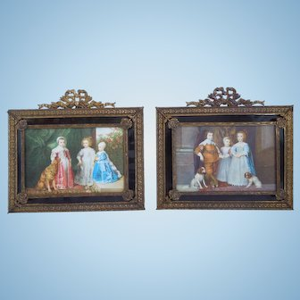 Pair of Petite French Style Gilt Brass Frames, Bows & Swags, Rosettes, With Court Scene, Children And Dogs 1930's