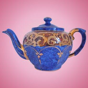 Vintage English Cobalt Blue, Enamel, Gilt Teapot 1930's