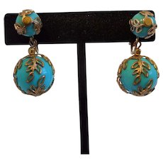 Vintage Signed Trifari Crown Ornate Blue Dangle Gold Tone Earrings