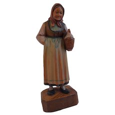 Vintage Hand Carved Wooden, Folk Art, Black Forest Swiss Figure Of A Peasant Woman With A Chicken