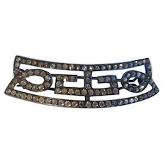 Antique Sterling Silver And Paste Barrette