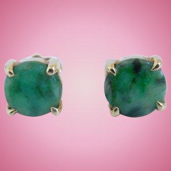 Vintage Imperial Natural Jadeite Jade  Earrings, Pierced 14K, Marked ZZ