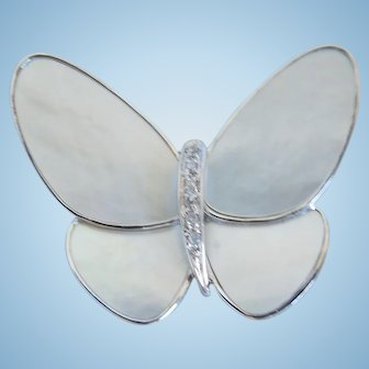 Mother Of Pearl And Diamond Butterfly Pin Brooch 14K White Gold