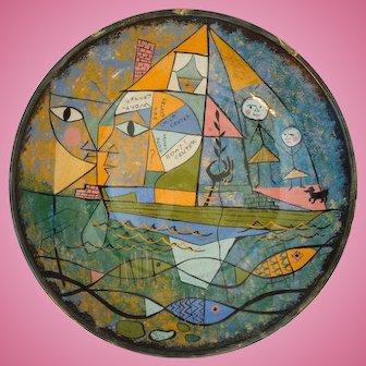 Erwin Kalla, Studio Art Pottery Bowl, Mid- Century Modern, Abstract, Artist Signed, Rare, 1950's