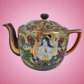 Vintage Japanese Hand Painted, Satsuma, Moriage, Enamels, Porcelain Teapot