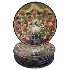 Vintage Set of 6 Hand Painted Japanese Satsuma Porcelain Plates, Immortals