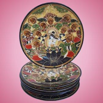 Vintage Set of 6 Hand Painted Japanese Satsuma Porcelain Plates, Immortals