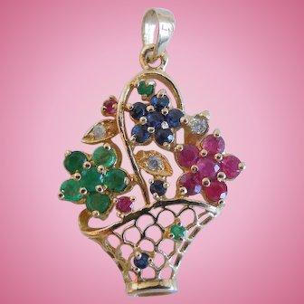 Vintage Emerald, Ruby, Sapphire And Diamond Flower Basket Pendant, 585, 14K