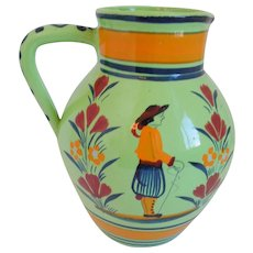 Henriot Quimper France Hand Painted Green Faience Pottery Pitcher,  1919-1922, Rare