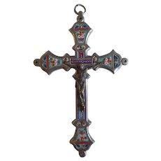 "Vintage Large Italian Micro Mosaic Cross, 4 5/8"", 1930's"