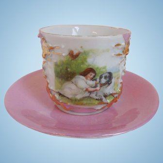 19th Century Victorian Porcelain,Transfer Ware, Pink Lustre Ware, Of Child & Dog, Cup And Saucer, Germany