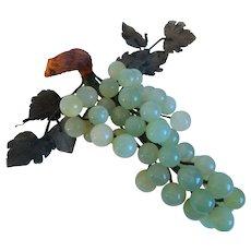 Vintage Italian, Alabaster Stone, Grape Cluster, Leaves, Wood Stem, Mid-Century