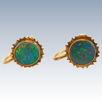 Vintage Estate Natural Australian Opal, Fiery, Round Earrings, 9ct, Screwback, Circa 1920's