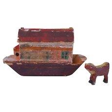Mid- 19th Century, Antique, Americana, Noah's Ark, Hand Carved & Painted, Wood, Folk Art