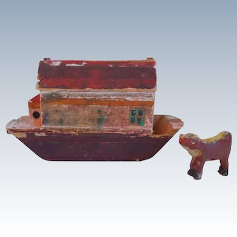 Mid- 19th Century, Antique, Americana, Noah's Ark, Hand Carved & Painted, Wood, Folk Art