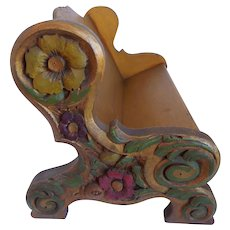 Vintage Italian Hand Carved & Hand Painted. Floral Motif, Wood, Book Rack Stand, Shelf, For Desk Or Library