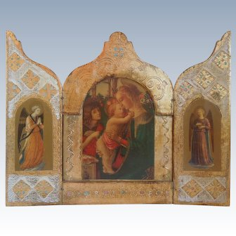 Vintage Italian Florentine, Tall, Wood Triptych With Madonna & Child, Angels, Gold Gilt, Religious Art
