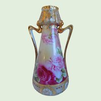 """Antique Hand Painted, Tall, Art Nouveau,  Nippon Vase With Roses, Enamels, Jewelled, Gold Gilt, Blue Maple Leaf Mark, 11"""""""