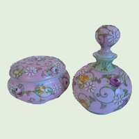 Antique Hand Painted Nippon Porcelain, Moriage,Floral Motif, Perfume, Scent Bottle & Trinket Box, Matching Set
