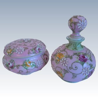 Antique Hand Painted Nippon Porcelain, Moriage,Floral Motif, Perfume, Scent Bottle & Trinket Box, Matching Set