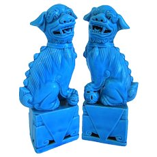 Vintage Turquoise Blue, Glazed, Pair Of Foo Dogs, Mid- Century
