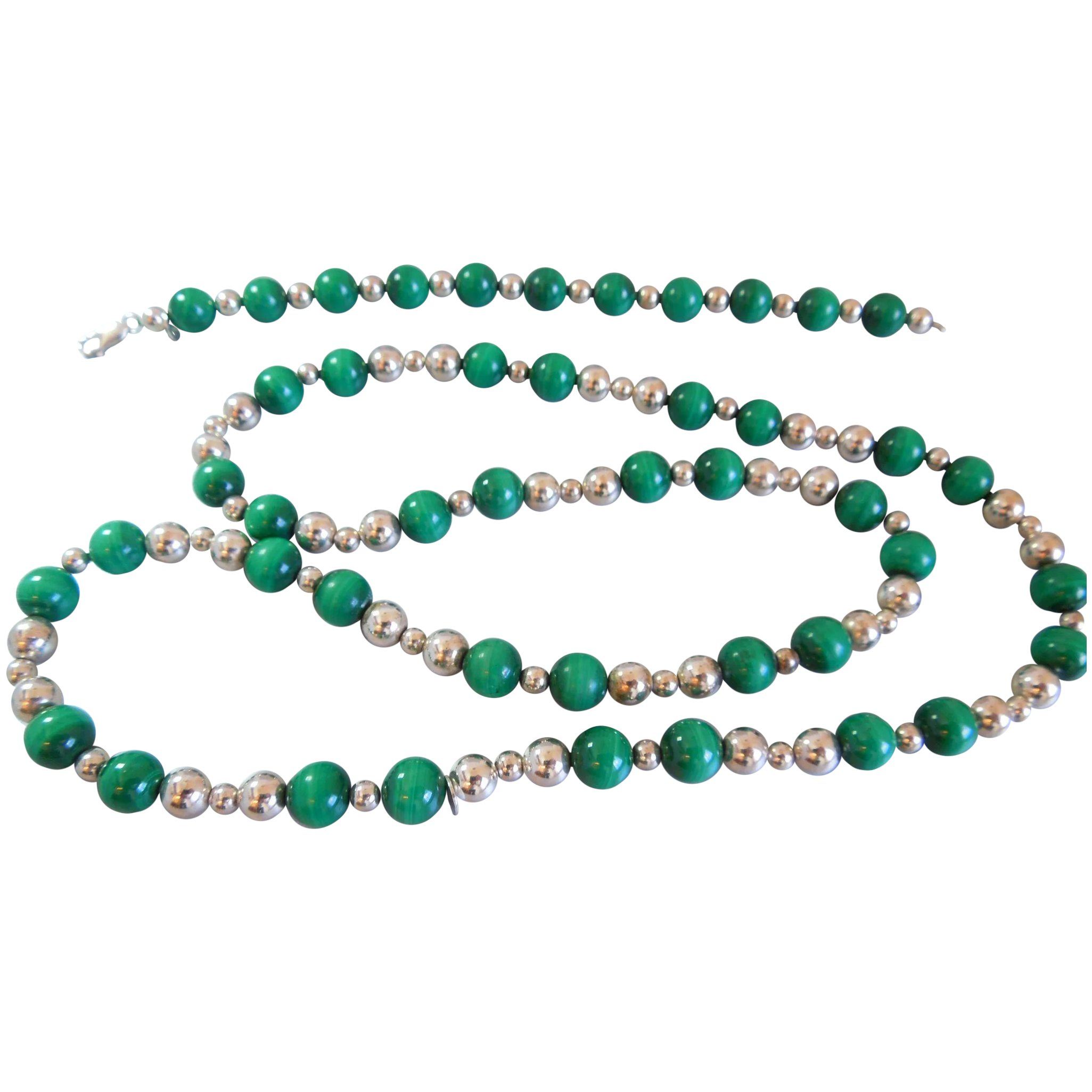 Vintage Authentic Tiffany Co Sterling Silver And Malachite Bead Merriman Antique And Design Ruby Lane