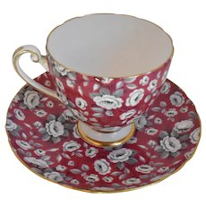 Vintage Shelley, Porcelain, Red Tapestry, Chintz, Ripon, Cup And Saucer