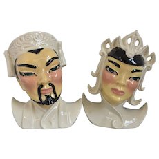 "Vintage ""Lotus & Manchu"" Head Vases, Ceramic Arts Studio, 1940's"