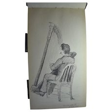 Sketch Book With Pencil Drawings Of Southern Maine, By Listed Boston,  Mass. Artist, Alice Frye Leach, Artist Signed, Circa 1889