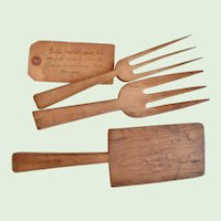 Early 19th Century, American, Hand Carved, Wooden, Folk Art, Butter Paddle & Two Butter Forks, Cumberland Hill, Rhode Island, Signed