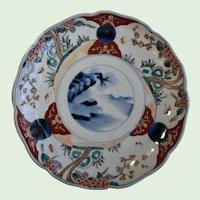 Japanese Imari, Hand Painted, Porcelain, Plate With Landscape Motif