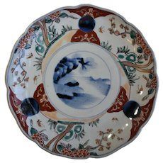 Japanese Imari, Hand Painted, Porcelain, Plate With Landscape Motif
