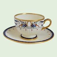 Vintage Wedgwood, Edme, USA, Hand Painted, Enamel Porcelain Cup And Saucer, Circa 1938, Artist Signed, Findlay