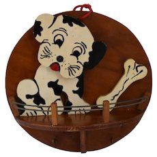 Vintage, Hand Carved, Hand Painted, Wooden ,Folk Art Shelf Of A Dog With A Bone