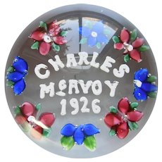 """Vintage Magnum, Union Glass Co. """"Charles McAvoy"""" Paperweight, Somerville, Massachusetts, American Art Glass, Circa 1926"""