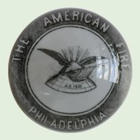 """Antique William Maxwell, Advertising, Art Glass, """"The American Fire Philadelphia"""" Paperweight, Signed, Circa 1882"""