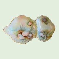 Antique Limoges, Tressemann & Vogt, Hand Painted, Gold Gilt, Porcelain, Seafood Tray, Artist Signed, A' Hearn