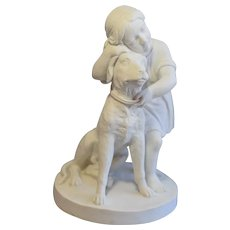 19th Century Royal Copenhagen,Thorvaldsen. Parian Ware Group, Child And Dog