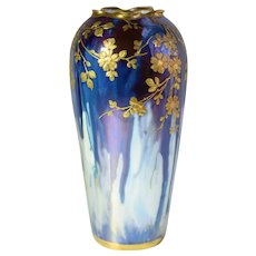 Art Nouveau Dresden, Germany, Richard Klemm, Raised Gold Relief, Porcelain Vase With Foliage And Flowers