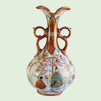 Antique Japanese Kutani Hand Painted Porcelain Vase, Signed