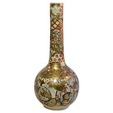 Antique Japanese Satsuma Meiji Hand Painted Bottle Vase