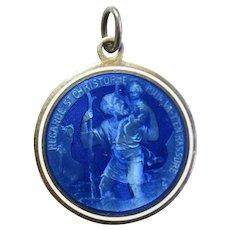 "Antique Large Sterling Silver, Blue Enamel, St. Christopher "" Recarde St. Christophe Puis Va Tenrassure"" Medal, Protect Us"