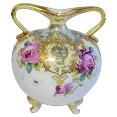 Antique Hand Painted Gold Gilt Nippon Porcelain Urn Vase With Roses, Maple Leaf Mark, Circa 1891