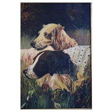 Antique, 19th Century Oil Painting Of Hunting Dogs, Artist Signed