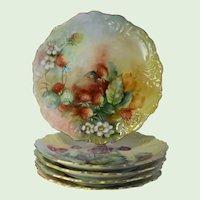 Antique Limoges, T&V, Tressemann & Vogt, Hand Painted Porcelain Fruit & Berries Cabinet Plates, Set Of Five, Artist Signed, E. Lawler