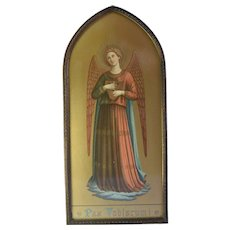 Antique, Fra Angelico, Polychrome, Gothic, Chromolithograph Print Of Musical Angel, Devotional, Christian Art
