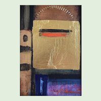 Modernist Abstract Mixed Media Painting By Listed Massachusetts, Boston, Rockport Artist, Constantine Arvanitas