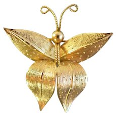 Vintage Grosse Germany GoldTone Butterfly Brooch, Pin 1966