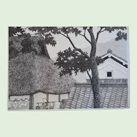 "Japanese Etching Aquatint Entitled, ""Trees And Roofs No. 3 "" By Listed Japanese Artist, Ryohei Tanaka, Artist Signed, Dated 1986"